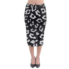 SKN5 BK MARBLE SILVER (R) Midi Pencil Skirt