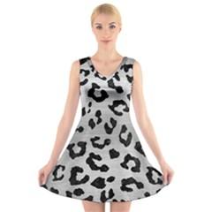 SKN5 BK MARBLE SILVER V-Neck Sleeveless Skater Dress