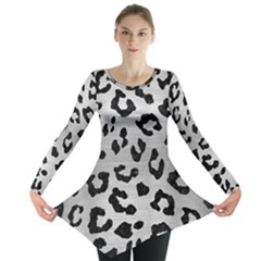 Skin5 Black Marble & Silver Brushed Metal Long Sleeve Tunic