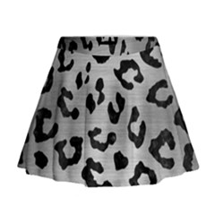 Skin5 Black Marble & Silver Brushed Metal Mini Flare Skirt