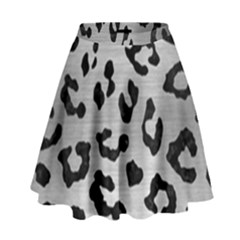 Skin5 Black Marble & Silver Brushed Metal High Waist Skirt