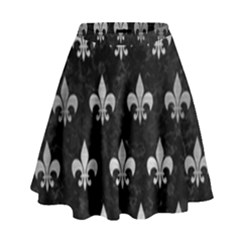 Royal1 Black Marble & Silver Brushed Metal (r) High Waist Skirt