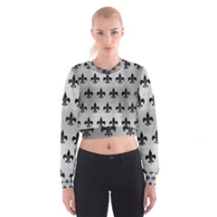 Royal1 Black Marble & Silver Brushed Metal Cropped Sweatshirt