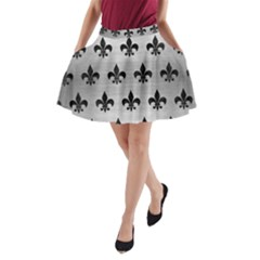 RYL1 BK MARBLE SILVER A-Line Pocket Skirt