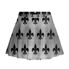 Royal1 Black Marble & Silver Brushed Metal Mini Flare Skirt