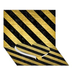 Stripes3 Black Marble & Gold Brushed Metal (r) Heart Bottom 3d Greeting Card (7x5)