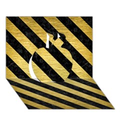 Stripes3 Black Marble & Gold Brushed Metal (r) Apple 3d Greeting Card (7x5)