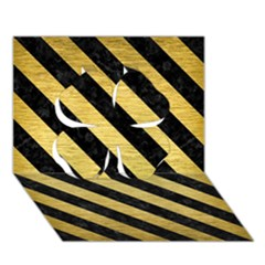 Stripes3 Black Marble & Gold Brushed Metal (r) Clover 3d Greeting Card (7x5)
