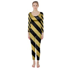 Stripes3 Black Marble & Gold Brushed Metal (r) Long Sleeve Catsuit