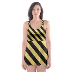 STR3 BK MARBLE GOLD (R) Skater Dress Swimsuit