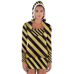 Stripes3 Black Marble & Gold Brushed Metal (r) Long Sleeve Hooded T Shirt