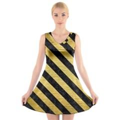STR3 BK MARBLE GOLD (R) V-Neck Sleeveless Skater Dress