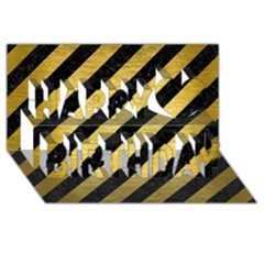 Stripes3 Black Marble & Gold Brushed Metal Happy Birthday 3d Greeting Card (8x4)