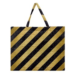 STR3 BK MARBLE GOLD Zipper Large Tote Bag