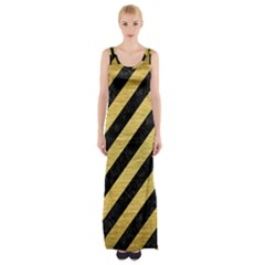 Stripes3 Black Marble & Gold Brushed Metal Maxi Thigh Split Dress