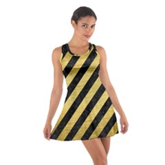 Stripes3 Black Marble & Gold Brushed Metal Cotton Racerback Dress