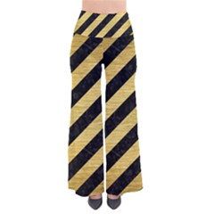Stripes3 Black Marble & Gold Brushed Metal So Vintage Palazzo Pants
