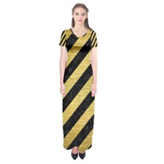 Stripes3 Black Marble & Gold Brushed Metal Short Sleeve Maxi Dress