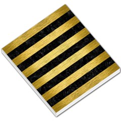 Stripes2 Black Marble & Gold Brushed Metal Small Memo Pads