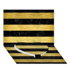 Stripes2 Black Marble & Gold Brushed Metal Heart Bottom 3d Greeting Card (7x5)