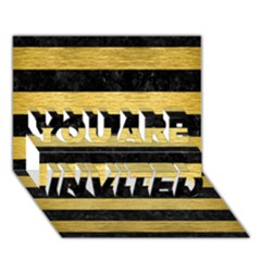 Stripes2 Black Marble & Gold Brushed Metal You Are Invited 3d Greeting Card (7x5)