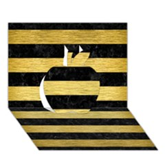 Stripes2 Black Marble & Gold Brushed Metal Apple 3d Greeting Card (7x5)