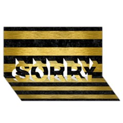 STR2 BK MARBLE GOLD SORRY 3D Greeting Card (8x4)