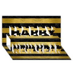 STR2 BK MARBLE GOLD Happy New Year 3D Greeting Card (8x4)
