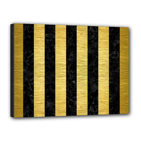 Stripes1 Black Marble & Gold Brushed Metal Canvas 16  X 12  (stretched)