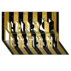 Stripes1 Black Marble & Gold Brushed Metal Happy Birthday 3d Greeting Card (8x4)