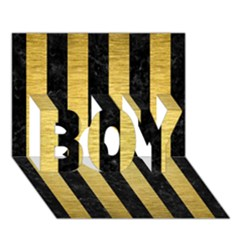 Stripes1 Black Marble & Gold Brushed Metal Boy 3d Greeting Card (7x5)