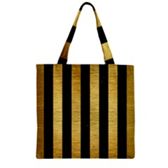 STR1 BK MARBLE GOLD Zipper Grocery Tote Bag