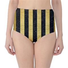STR1 BK MARBLE GOLD High-Waist Bikini Bottoms