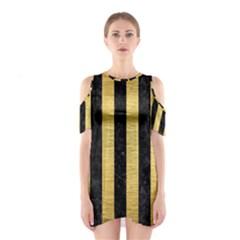STR1 BK MARBLE GOLD Cutout Shoulder Dress