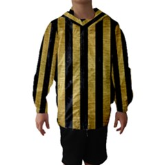 Stripes1 Black Marble & Gold Brushed Metal Hooded Wind Breaker (kids)