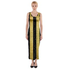 Stripes1 Black Marble & Gold Brushed Metal Fitted Maxi Dress