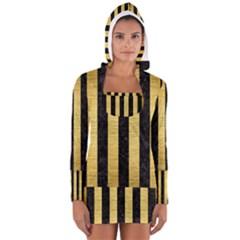 STR1 BK MARBLE GOLD Women s Long Sleeve Hooded T-shirt