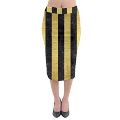 Stripes1 Black Marble & Gold Brushed Metal Midi Pencil Skirt