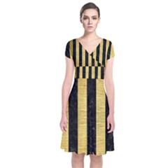 Stripes1 Black Marble & Gold Brushed Metal Short Sleeve Front Wrap Dress