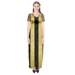 Stripes1 Black Marble & Gold Brushed Metal Short Sleeve Maxi Dress