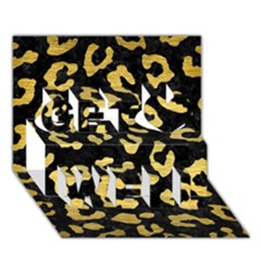 Skin5 Black Marble & Gold Brushed Metal (r) Get Well 3d Greeting Card (7x5)