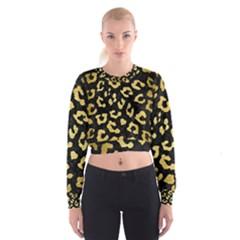 Skin5 Black Marble & Gold Brushed Metal (r) Cropped Sweatshirt