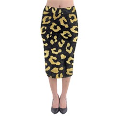 Skin5 Black Marble & Gold Brushed Metal (r) Midi Pencil Skirt