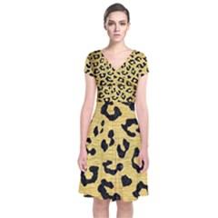 Skin5 Black Marble & Gold Brushed Metal Short Sleeve Front Wrap Dress