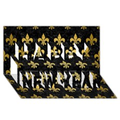 Royal1 Black Marble & Gold Brushed Metal (r) Happy New Year 3d Greeting Card (8x4)