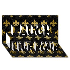 Royal1 Black Marble & Gold Brushed Metal (r) Laugh Live Love 3d Greeting Card (8x4)