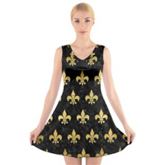 RYL1 BK MARBLE GOLD (R) V-Neck Sleeveless Skater Dress