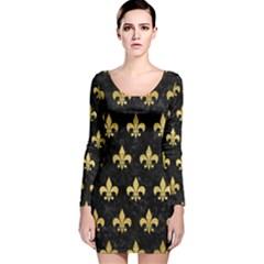 RYL1 BK MARBLE GOLD (R) Long Sleeve Velvet Bodycon Dress