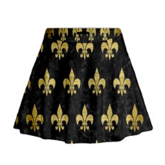 Royal1 Black Marble & Gold Brushed Metal (r) Mini Flare Skirt