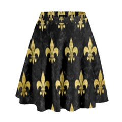 Royal1 Black Marble & Gold Brushed Metal (r) High Waist Skirt